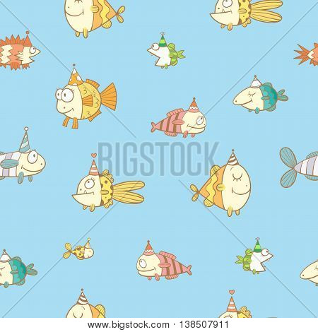 Birthday seamless pattern with cute cartoon colorful fishes  in party hat  on  blue  baclkground. Underwater life. Funny sea animals. Children's illustration. Vector image.