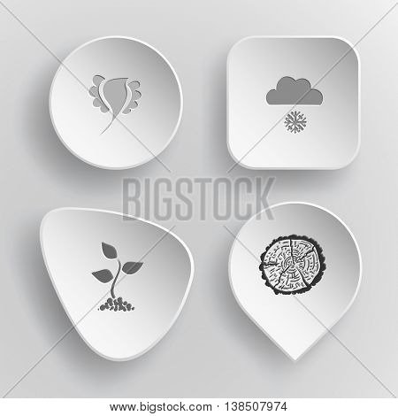 4 images: bird, snowfall, sprout, cut of tree. Nature set. White concave buttons on gray background. Vector icons.