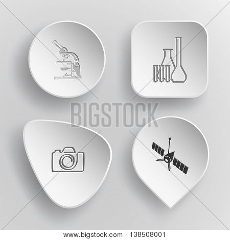 4 images: lab microscope, chemical test tubes, camera, spaceship. Tehnology set. White concave buttons on gray background. Vector icons.