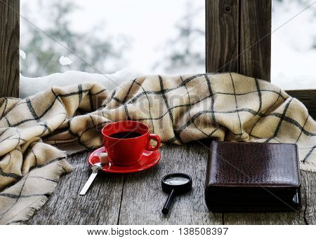 Red Cup Of Coffee Or Tea On Stylized Wooden Windowsill.