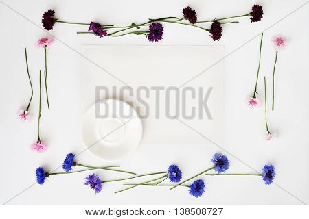 Plate With Decoration Of Flowers On White Background.