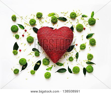 Heart With Pattern From Petals Of Chrysanthemum Flowers.