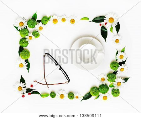 Cup For Coffee Or Tea And Glasses With Wreath Frame.