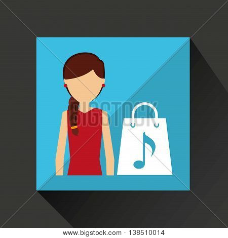 playing music on phone icon, vector illustration
