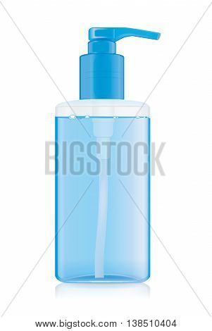 Transparency plastic bottles with blue airless pump that to see inside have blue liquid. Ideal for beauty product mock up and hygiene or other.