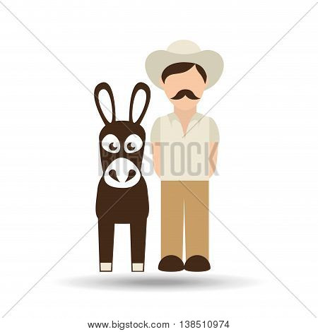 colombian farmer and donkey icon, vector illustration