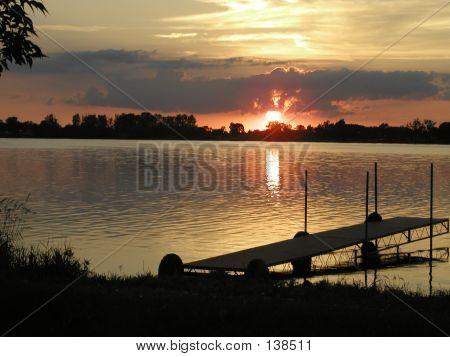 Summer Sunset On Lake