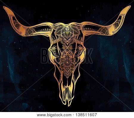 Hand drawn romantic tattoo style ornate decorative desert cow or buffalo skull. Spiritual native indian navajo art. Vector illustration isolated. Ethnic design, mystic tribal boho symbol for your use.