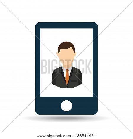 business person in smarphone icon, vecctor illustration