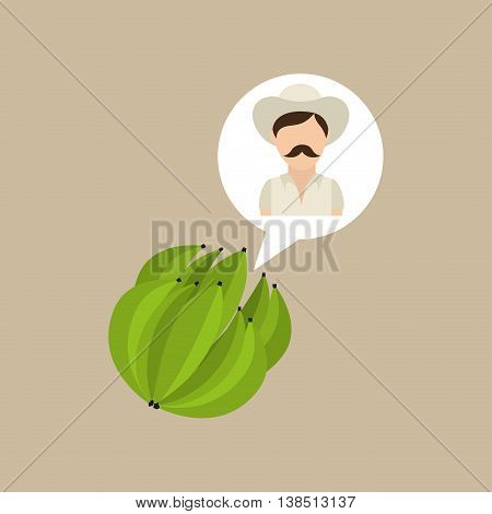 colombian farmer coffee bean icon, vector illustration