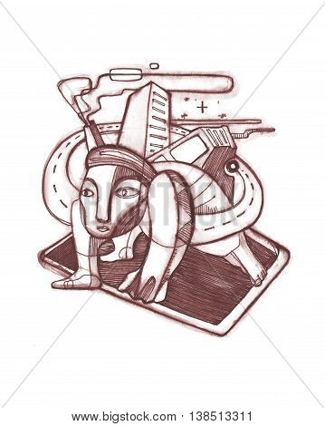 Hand drawn illustration or drawing of an abstract distorted man with urban symbols on his back