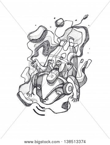 Hand drawn illustration or drawing of an abstract distorted man with technology items