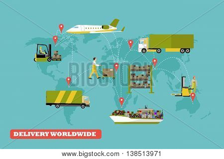 Logistic and delivery concept vector illustration. Set of air, trucks and ships transport delivery and shipping.