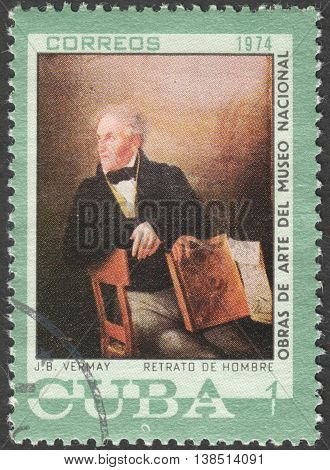 MOSCOW, RUSSIA - CIRCA FEBRUARY, 2016: a post stamp printed in CUBA shows painting by Vermay, the series
