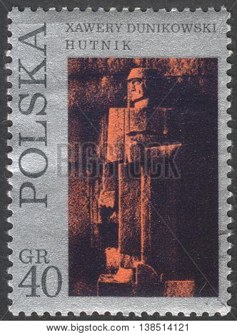 MOSCOW RUSSIA - CIRCA FEBRUARY 2016: post stamp printed in POLAND showsa sculpture