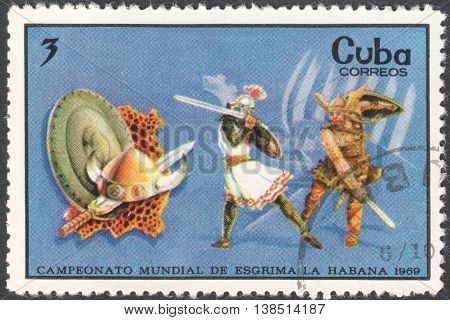MOSCOW RUSSIA - CIRCA FEBRUARY 2016: a post stamp printed in CUBA shows viking fencing the series