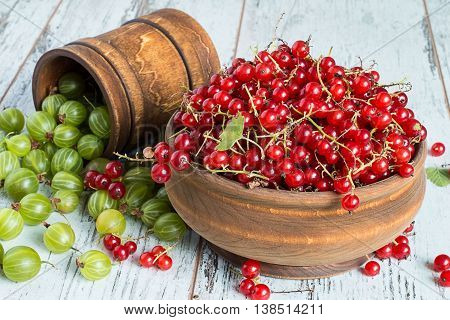Freshly picked gooseberries and redcurrants in a wooden crockery on a light wooden table.