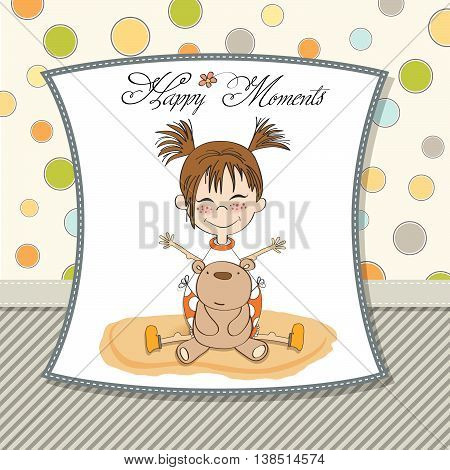 Happy Moments Card With Little Bear And Her Teddy Bear
