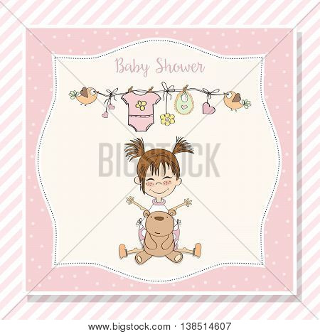 Baby Girl Shower Card With Little Girl And Her Teddy Bear