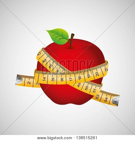 apple surrounded by a measuring tape, healthy life style, vector illustration