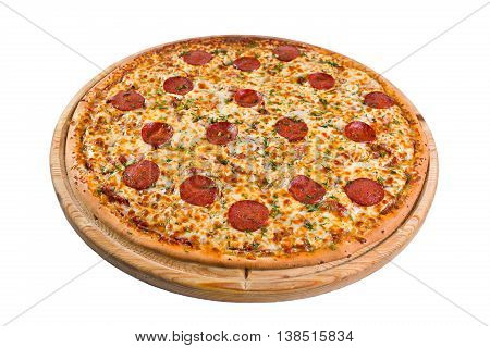 pizza with pepperoni on a wooden board.
