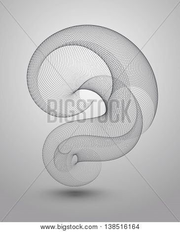Vector abstract background lines blend on gray background