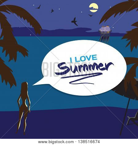 Summer night vacation concept background with space for text. Vector cartoon flat illustration. Silhouette of a girl on the beach lights of a cruise ship in the distance in the moonlight.
