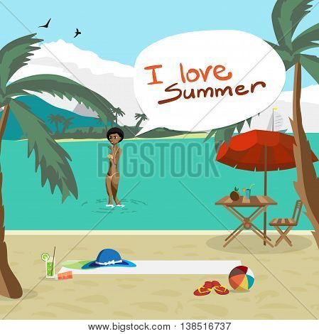 Sea landscape summer beach palm tree sun umbrellas chaise. Black afro woman in yellow bikini out of the water onto the coast. Vector flat cartoon illustration