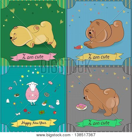 Set of vintage greeting cards with cartoon animals. Pets chow-chow. White sheep. Banners for custom text. Vector illustration. EPS 8