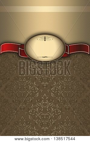 Vintage background with decorative framered ribbon and old-fashioned patterns.