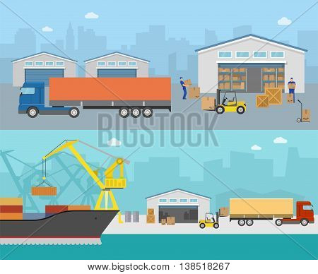 Goods shipment panoramas with loading in truck moving cargo at port on city backgrounds isolated vector illustration