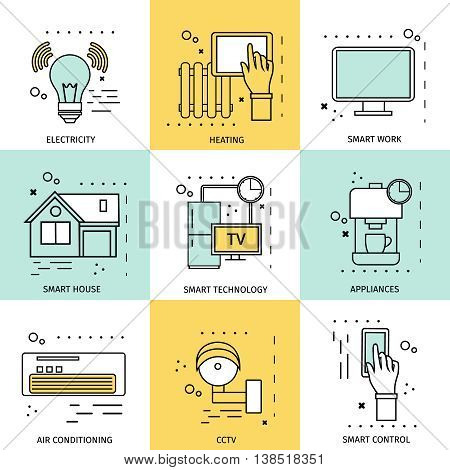 Smart house concept with icon set in linear style and descriptions of electricity heating smart work cctv appliances vector illustration