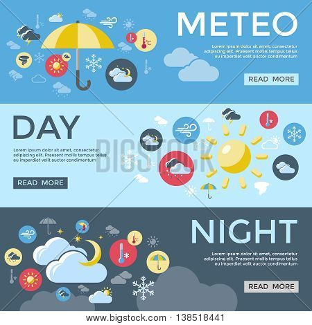 Three horizontal weather forecast banner set with meteo day night descriptions and read more buttons vector illustration