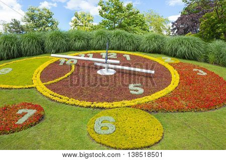 Geneva Switzerland - June 17 2016: The Flower Clock at Geneva city lakefront
