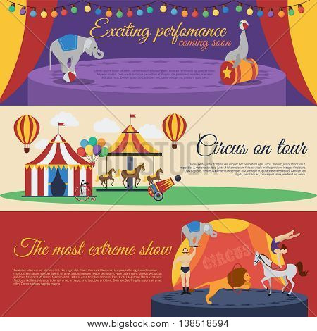 Circus announcements horizontal banners set with exciting performance tour round extreme show isolated vector illustration