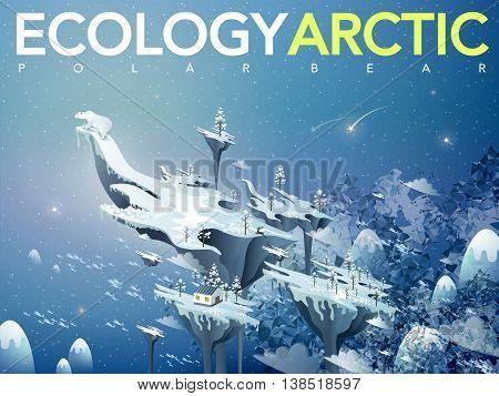 ecology flat 3d isometric design - amazing arctic scenery