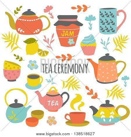 Tea ceremony hand drawn composition with ceramic pots cups colorful flowers leaves lemon black title vector illustration