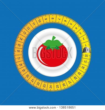 plate surrounded by tape measure, healthy life style, vector illustration