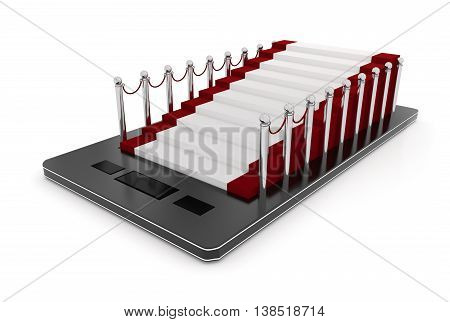 3D Mobile Phone , Carpet With Stanchions On Its Screen Concept