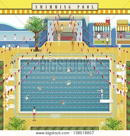 lovely swimming pool scenario design in flat style
