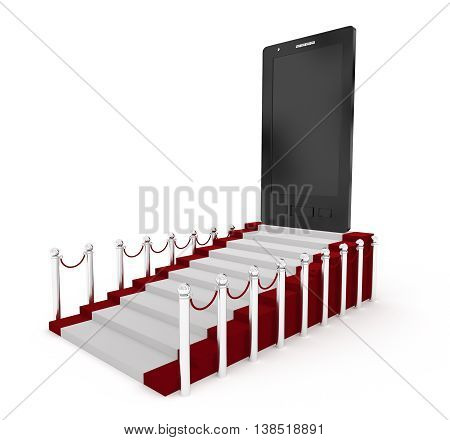 3D Mobile Phone On The Top Of Carpet With Stanchions Concept