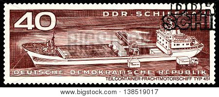STAVROPOL RUSSIA - JULY 04 2016: a stamp printed by Germany Container cargo ship typ 451 circa 1971