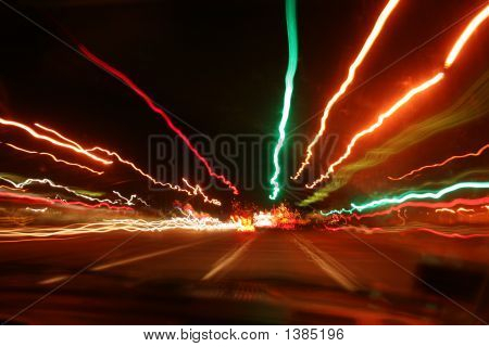 Very colorful picture of street lights