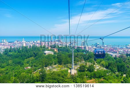 The ride on the cableway is one of the most popular and interesting tourist attractions in Batumi Georgia.