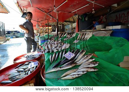 ISTANBUL - AUGUST 8: Unknown man trades fish in a market near harbor, August 8, 2013 in Istanbul, Turkey. Istanbul is the world's fifth-most-popular tourist destination.