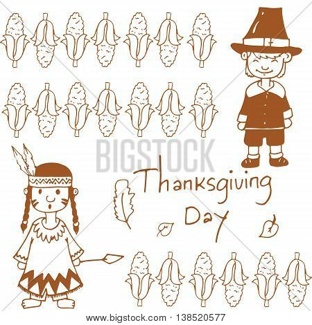 Doodle of Thanksgiving day corn vector art