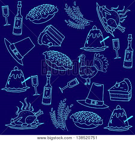 Doodle thanksgiving blue backgrounds vector art illustration