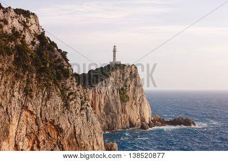 Lighthouse during sunset, Cape Doukato, Lefkada island, Greece