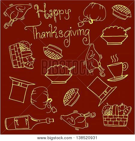 Vegetables and food thanksgiving doodles vector illustration