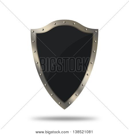 Medieval shield with riveted border on white background.
